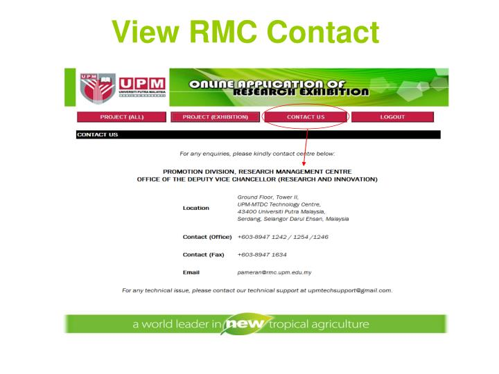 View RMC Contact