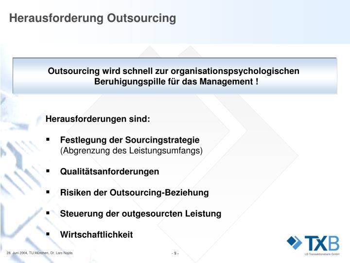Herausforderung Outsourcing