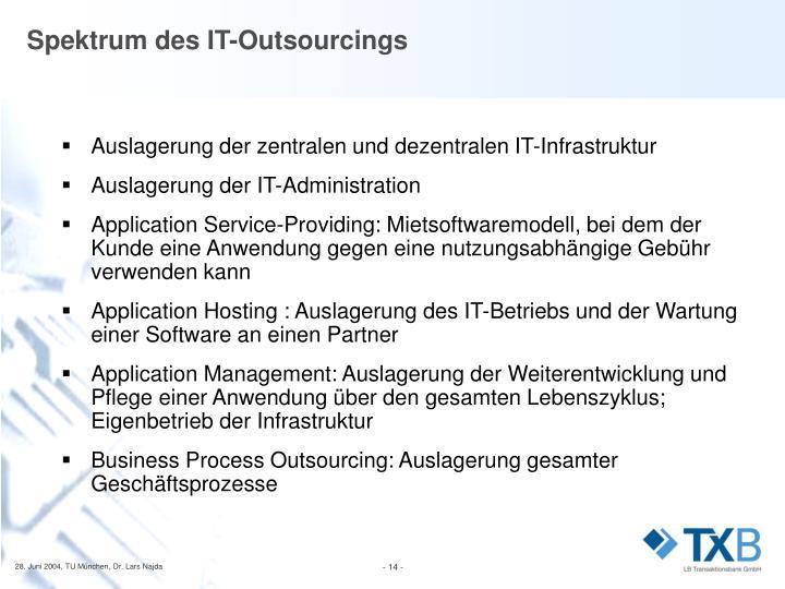 Spektrum des IT-Outsourcings