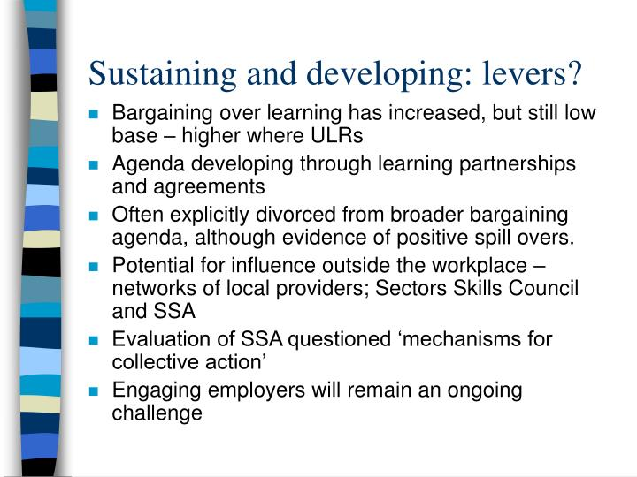 Sustaining and developing: levers?