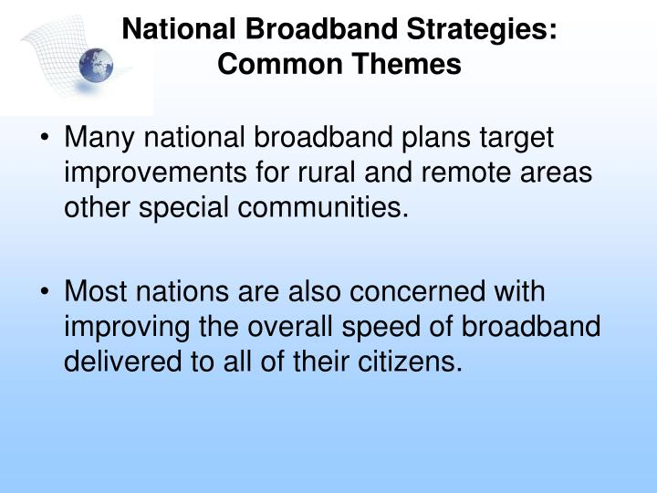 National Broadband Strategies:
