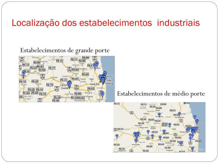 Localização dos estabelecimentos  industriais