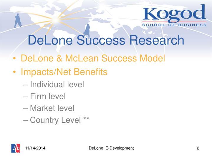 Delone success research