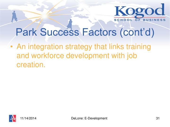 Park Success Factors (cont'd)