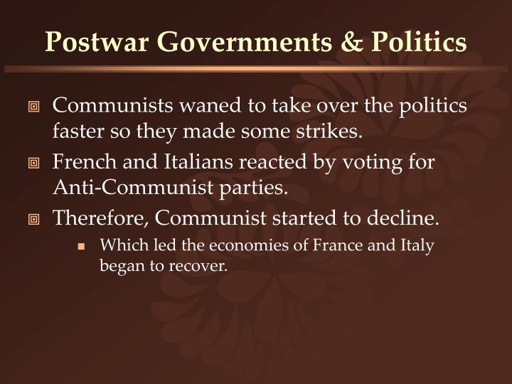 Postwar Governments & Politics