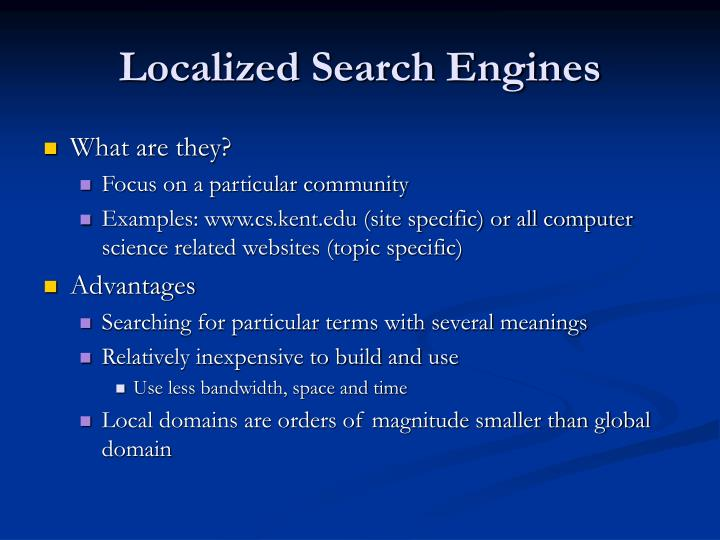 Localized search engines