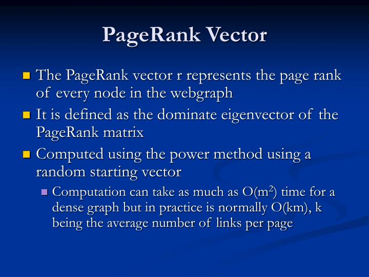 PageRank Vector