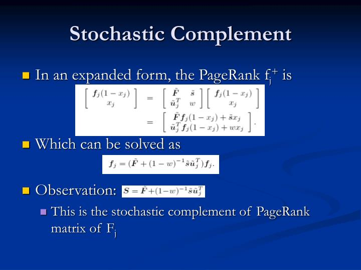 Stochastic Complement