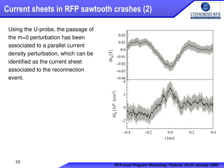 Current sheets in RFP sawtooth crashes (2)