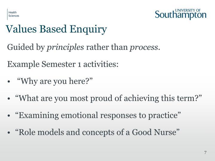 Values Based Enquiry