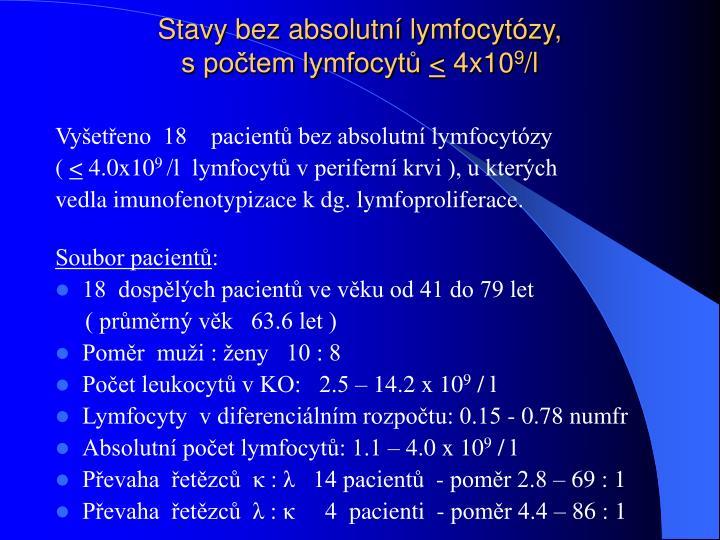 Stavy bez absolutní lymfocytózy,