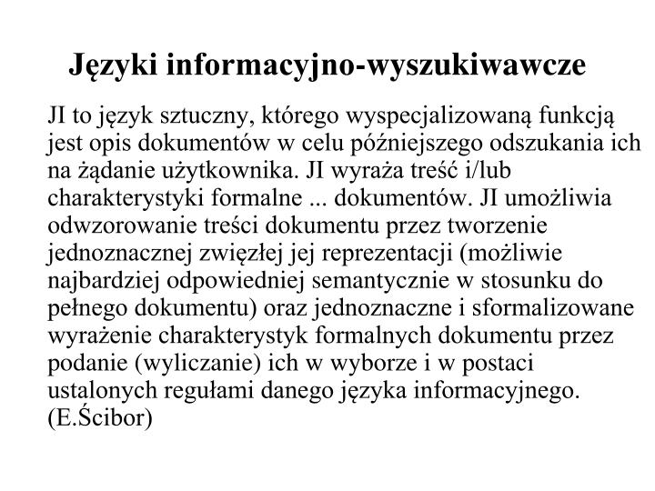 Języki informacyjno-wyszukiwawcze