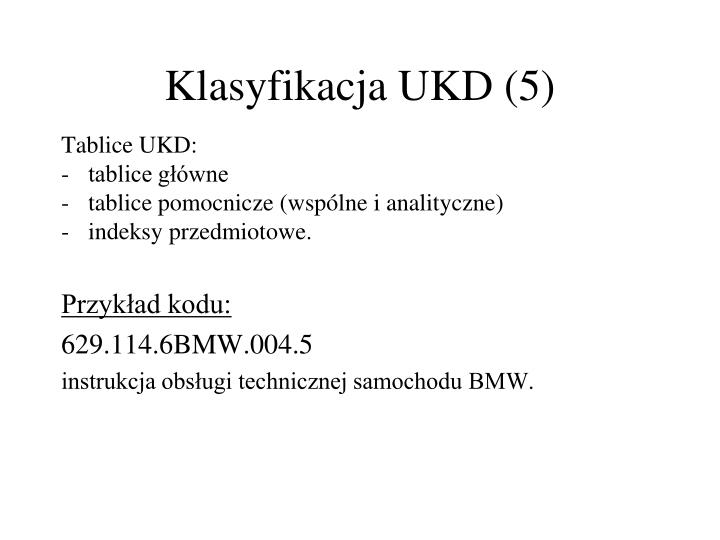 Klasyfikacja UKD (5)