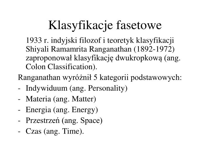 Klasyfikacje fasetowe