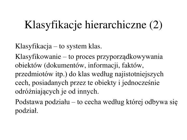 Klasyfikacje hierarchiczne (2)