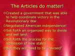 the articles do matter
