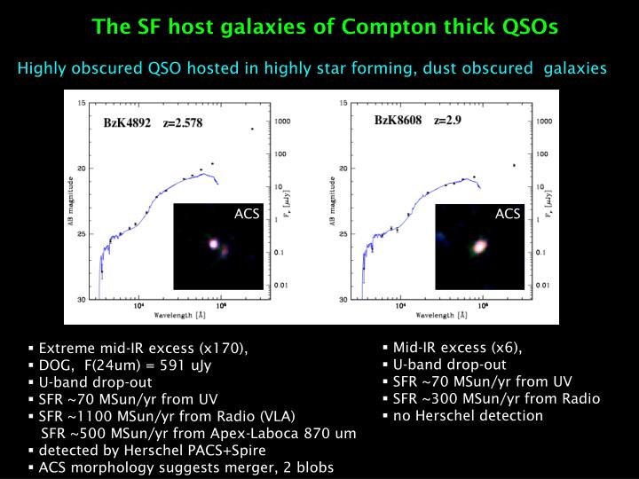 The SF host galaxies of Compton thick QSOs