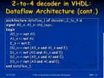 2 to 4 decoder in vhdl dataflow architecture cont