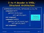 2 to 4 decoder in vhdl structural architecture