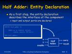 half adder entity declaration