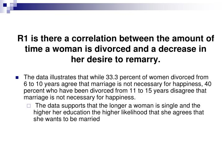 R1 is there a correlation between the amount of time a woman is divorced and a decrease in her desire to remarry.