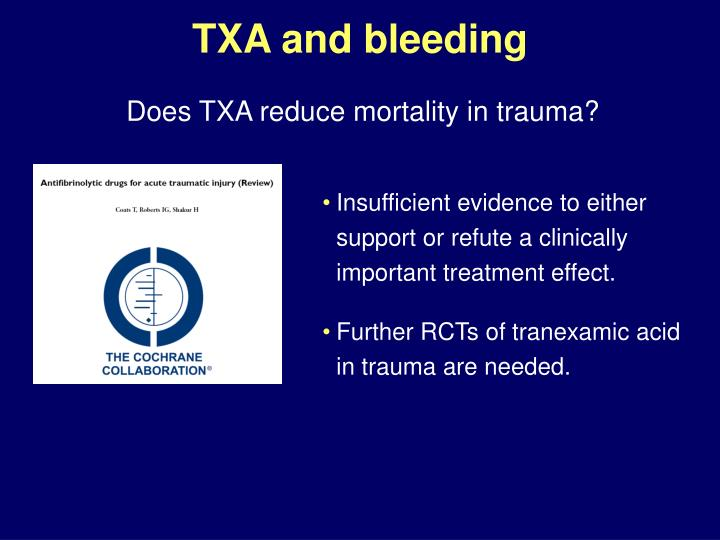 TXA and bleeding