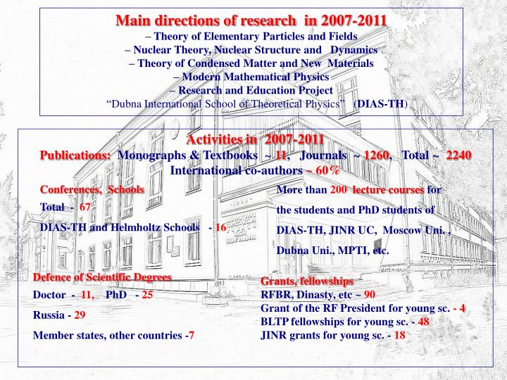 Main directions of research  in 2007-2011