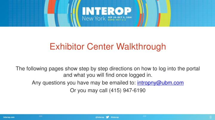 Exhibitor center walkthrough