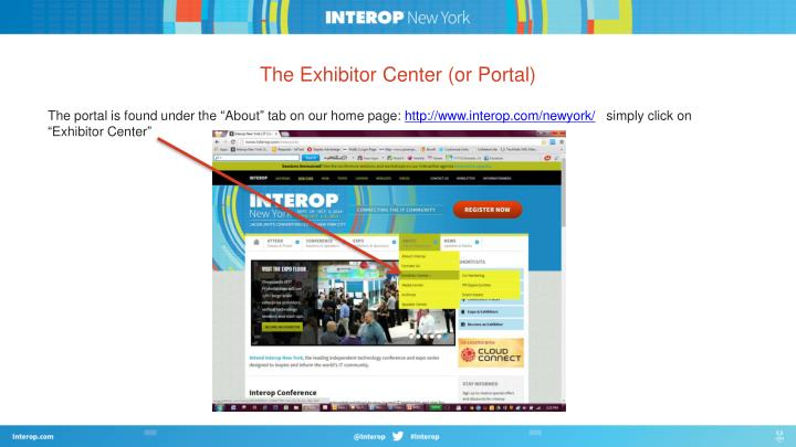 The exhibitor center or portal
