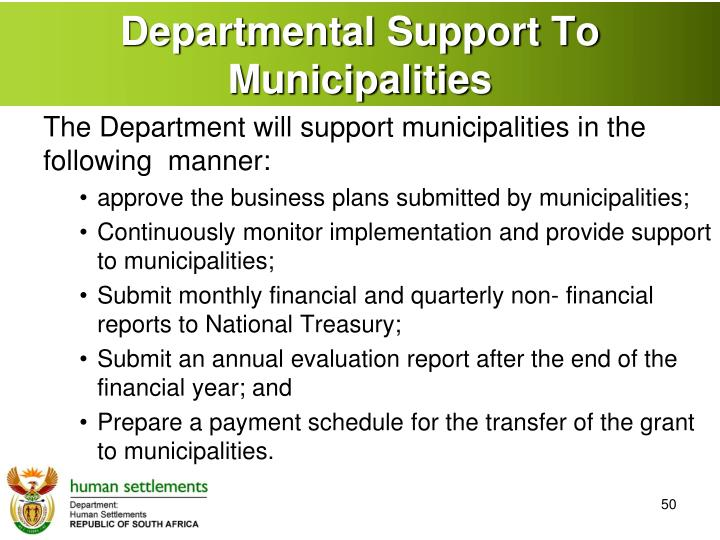 Departmental Support To Municipalities