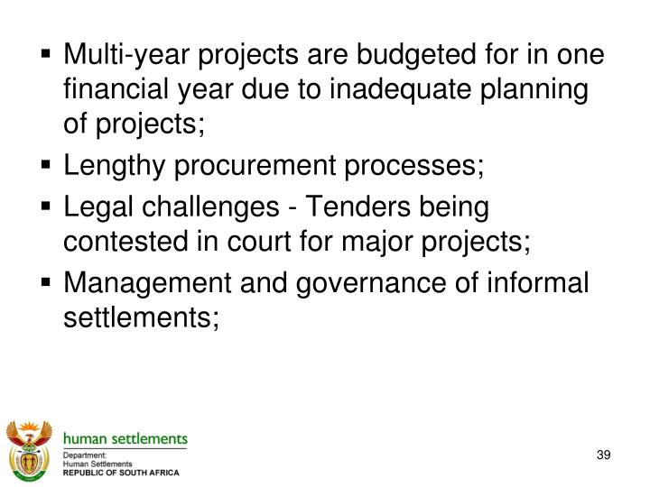 Multi-year projects are budgeted for in one financial year due to