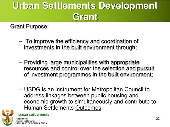Urban Settlements Development Grant