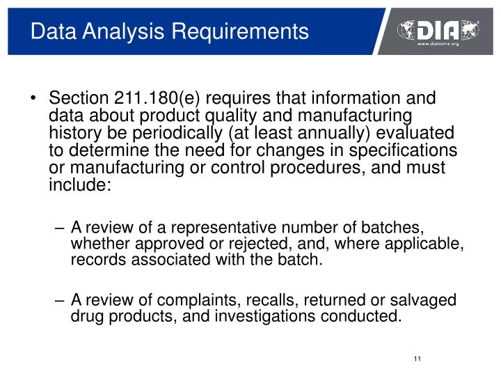 Data Analysis Requirements