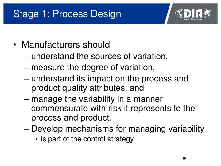 Stage 1: Process Design