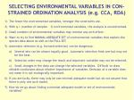 selecting environmental variables in con strained ordination analysis e g cca rda