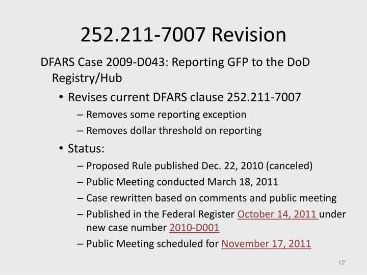 252.211-7007 Revision