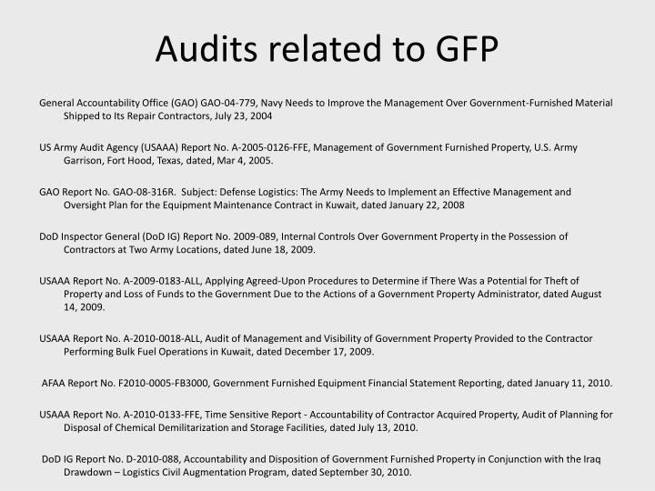 Audits related to GFP