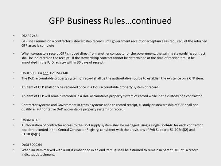GFP Business Rules…continued