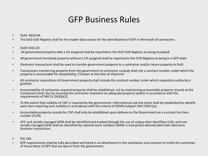 GFP Business Rules