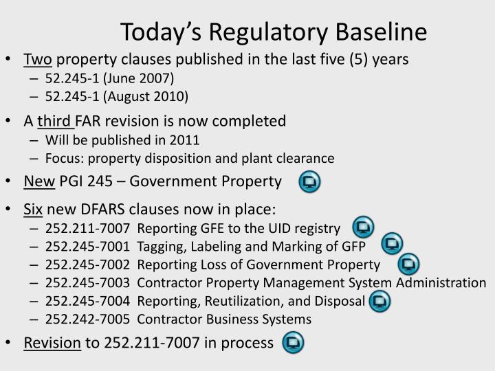 Today's Regulatory Baseline