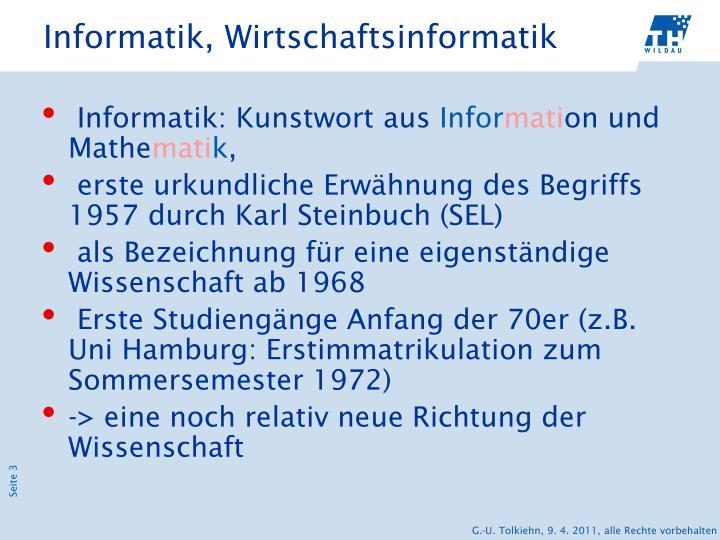 Informatik wirtschaftsinformatik