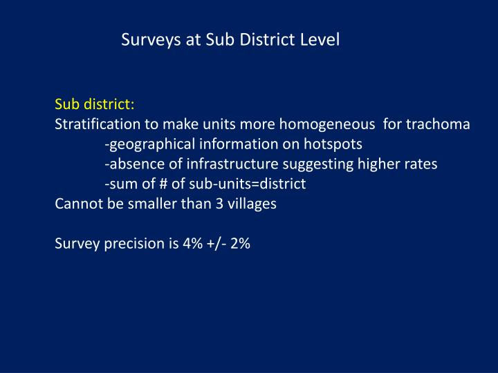 Surveys at Sub District Level