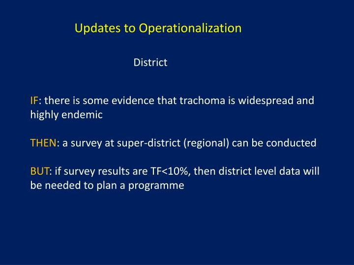 Updates to Operationalization