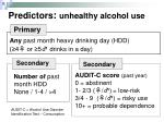 predictors unhealthy alcohol use