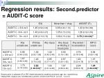 regression results second predictor audit c score