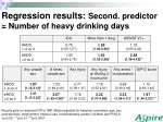 regression results second predictor number of heavy drinking days