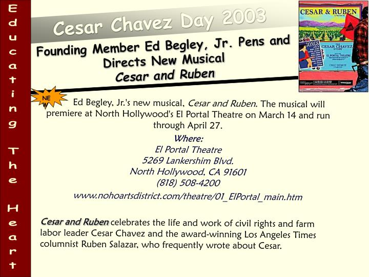 Founding member ed begley jr pens and directs new musical cesar and ruben