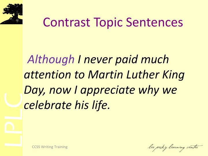 Contrast Topic Sentences