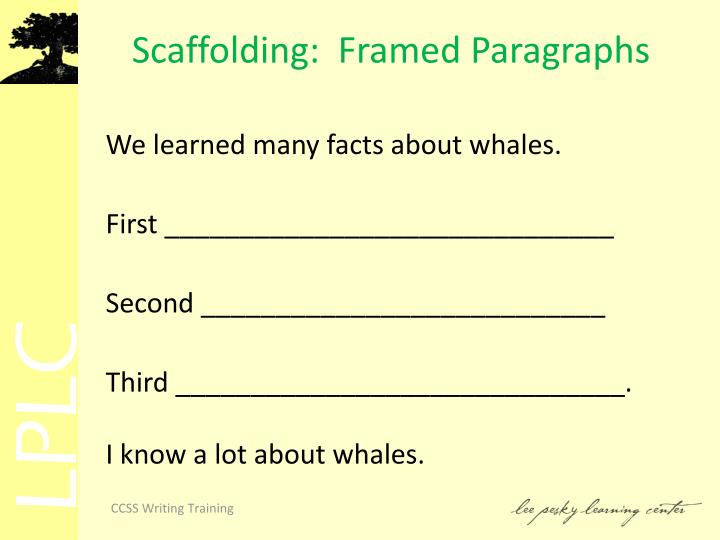 Scaffolding:  Framed Paragraphs
