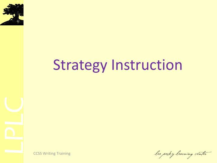 Strategy Instruction